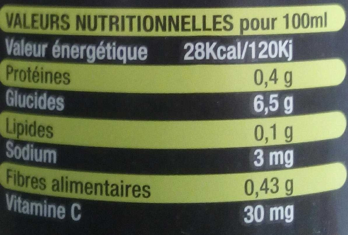 Lemon plus bio - Voedigswaarden