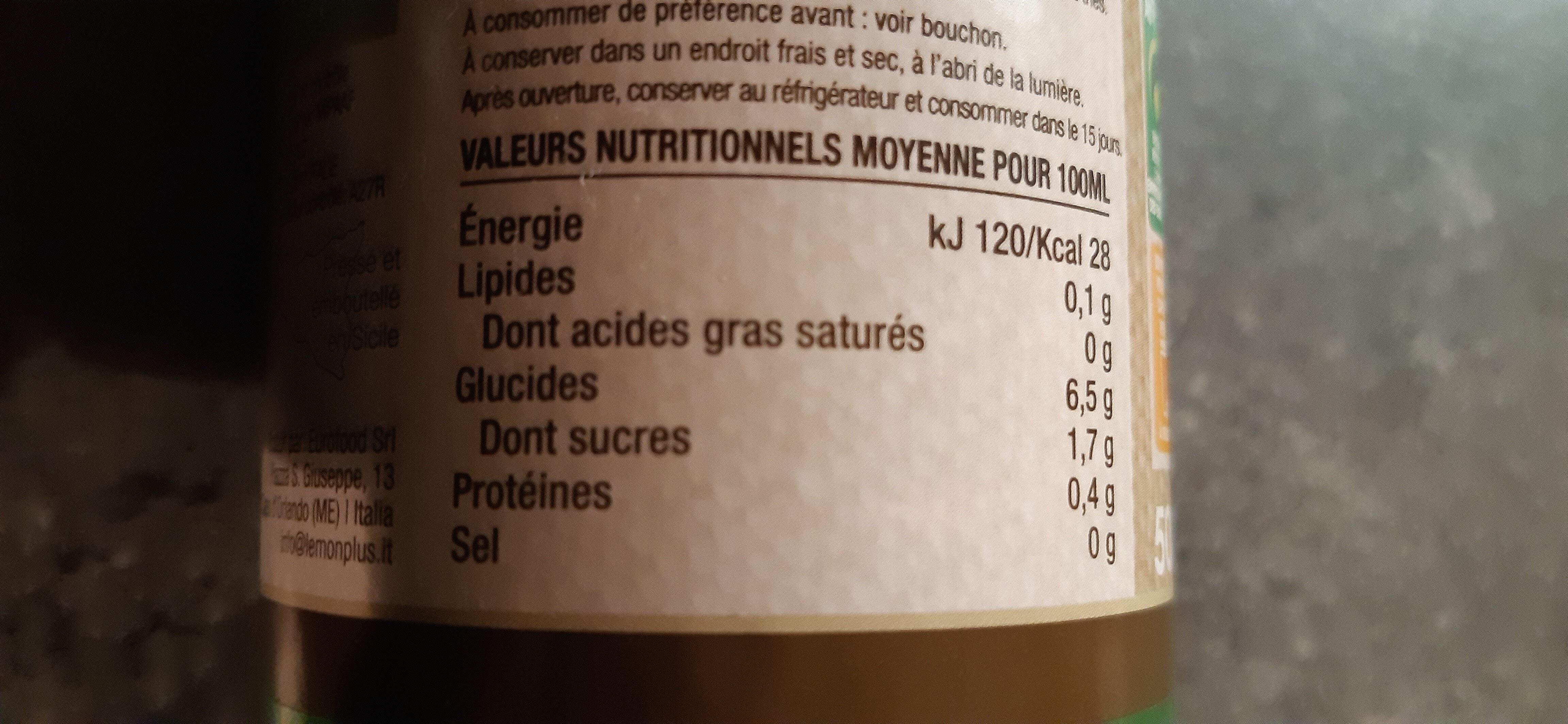 Lemon plus bio - Informations nutritionnelles - fr