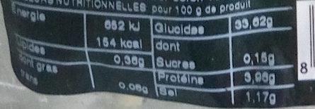 Gnocchi de pomme de terre - Informations nutritionnelles - fr