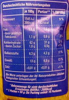 Hafterflocken Zart - Nutrition facts - de