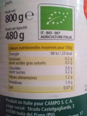 Tomates pelées biologiques - Nutrition facts - en