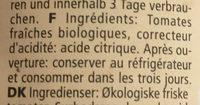Coulis de tomates biologiques - Ingrédients - fr