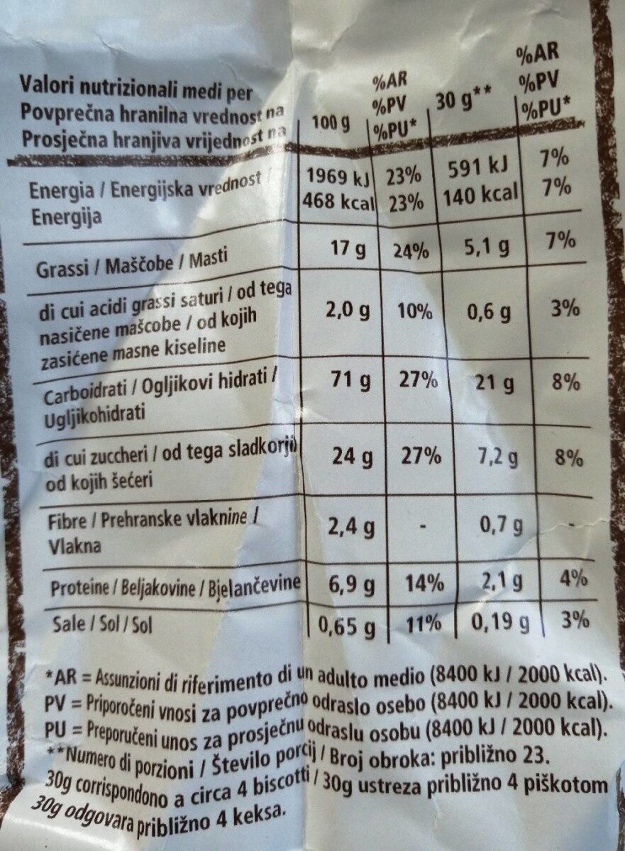 Frollini con granelli di zucchero - Nutrition facts - it