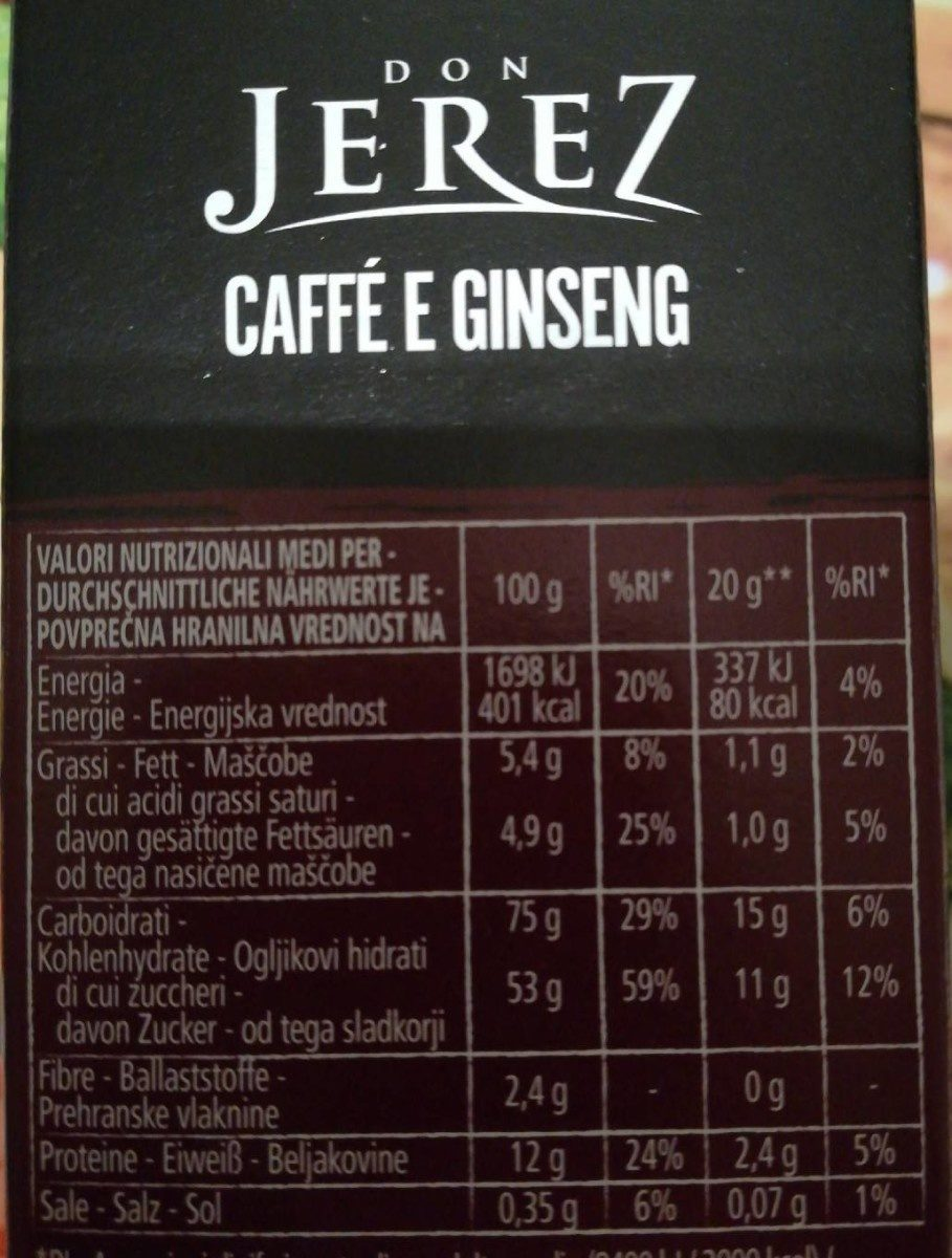 Caffè e ginseng - Ingredients