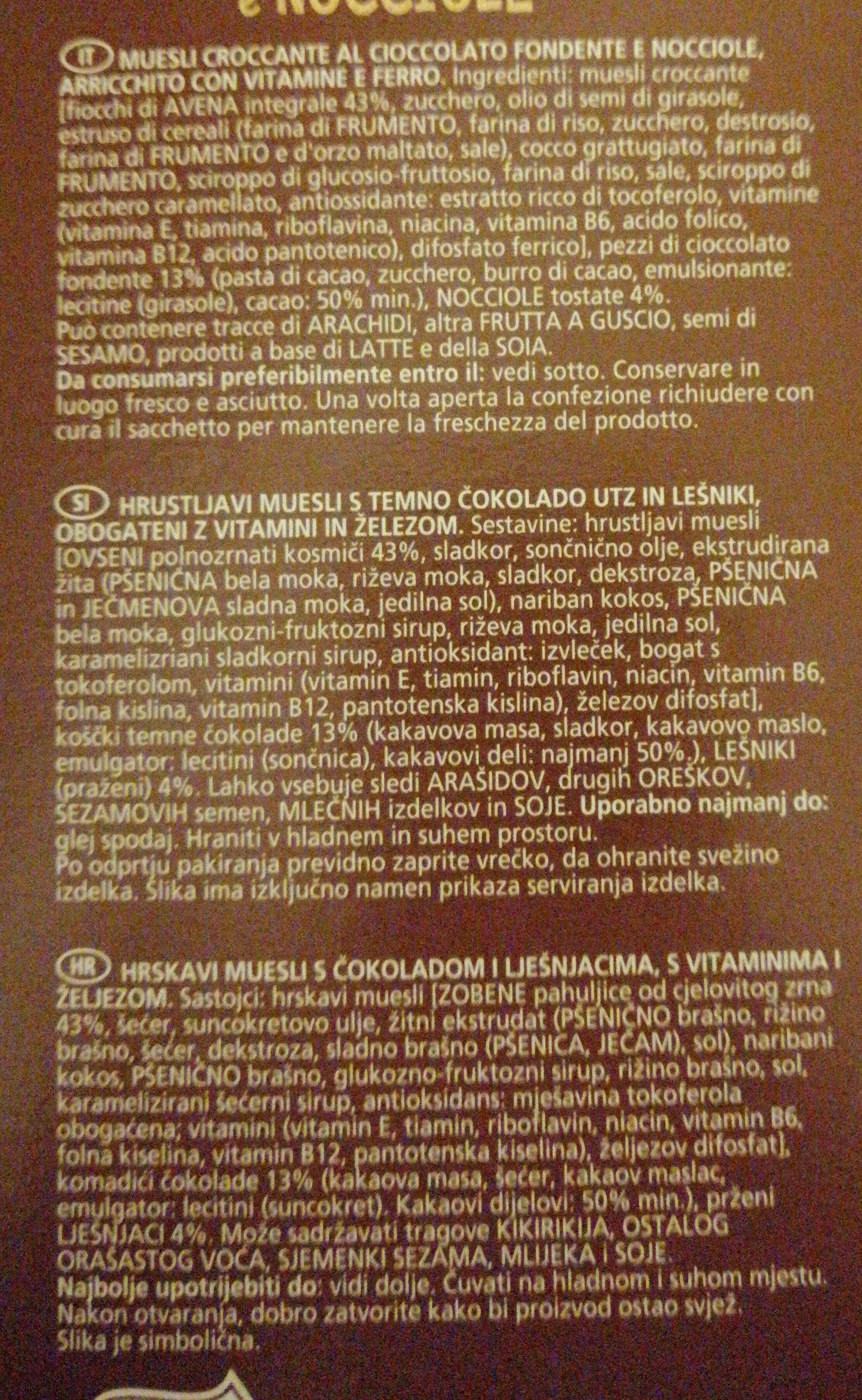 Muesli croccante al cioccolato e nocciole - Ingredients - fr