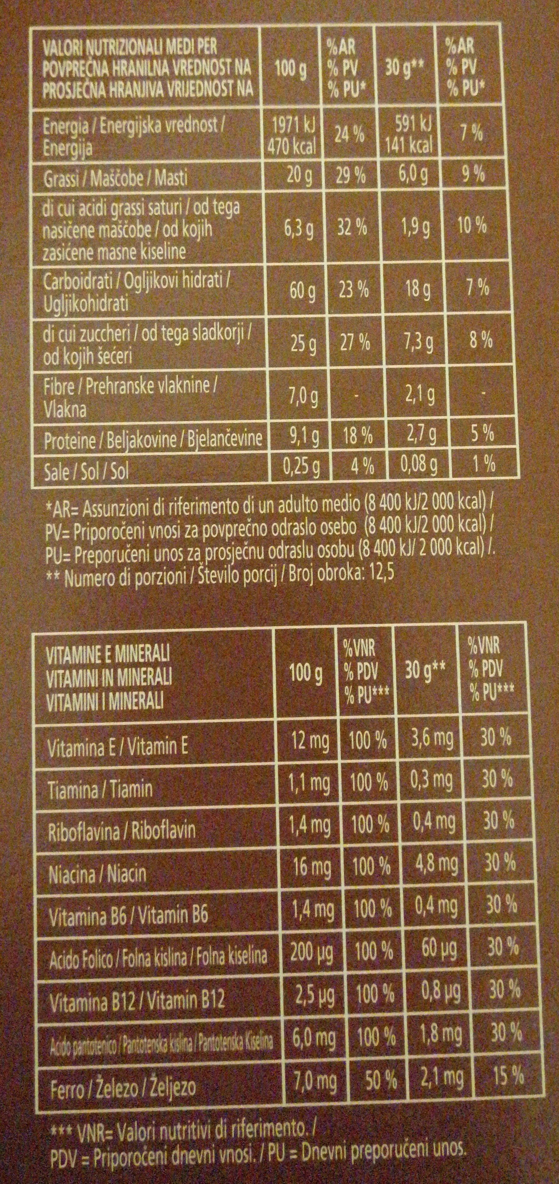 Muesli croccante al cioccolato e nocciole - Nutrition facts - fr