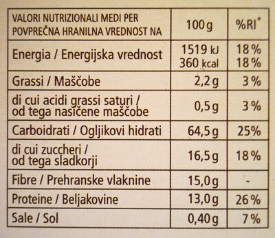 Fiocchi di frumento e crusca - Voedingswaarden