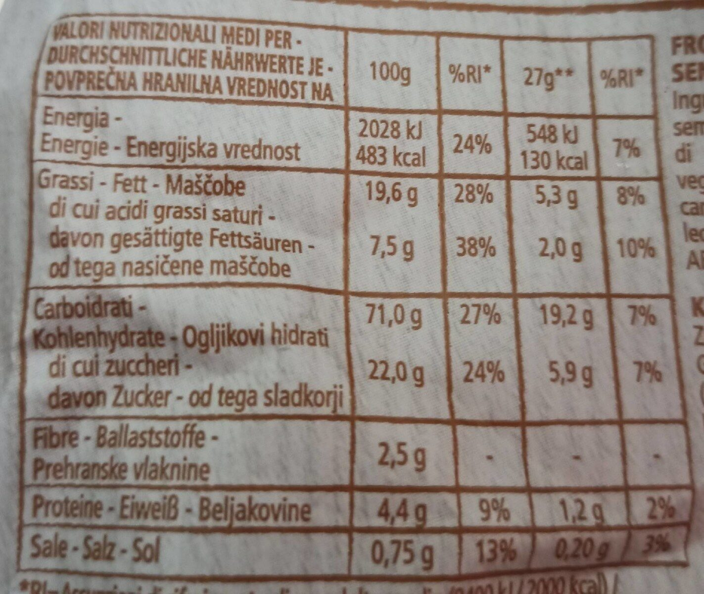 Frollini al cocco - Nutrition facts - de