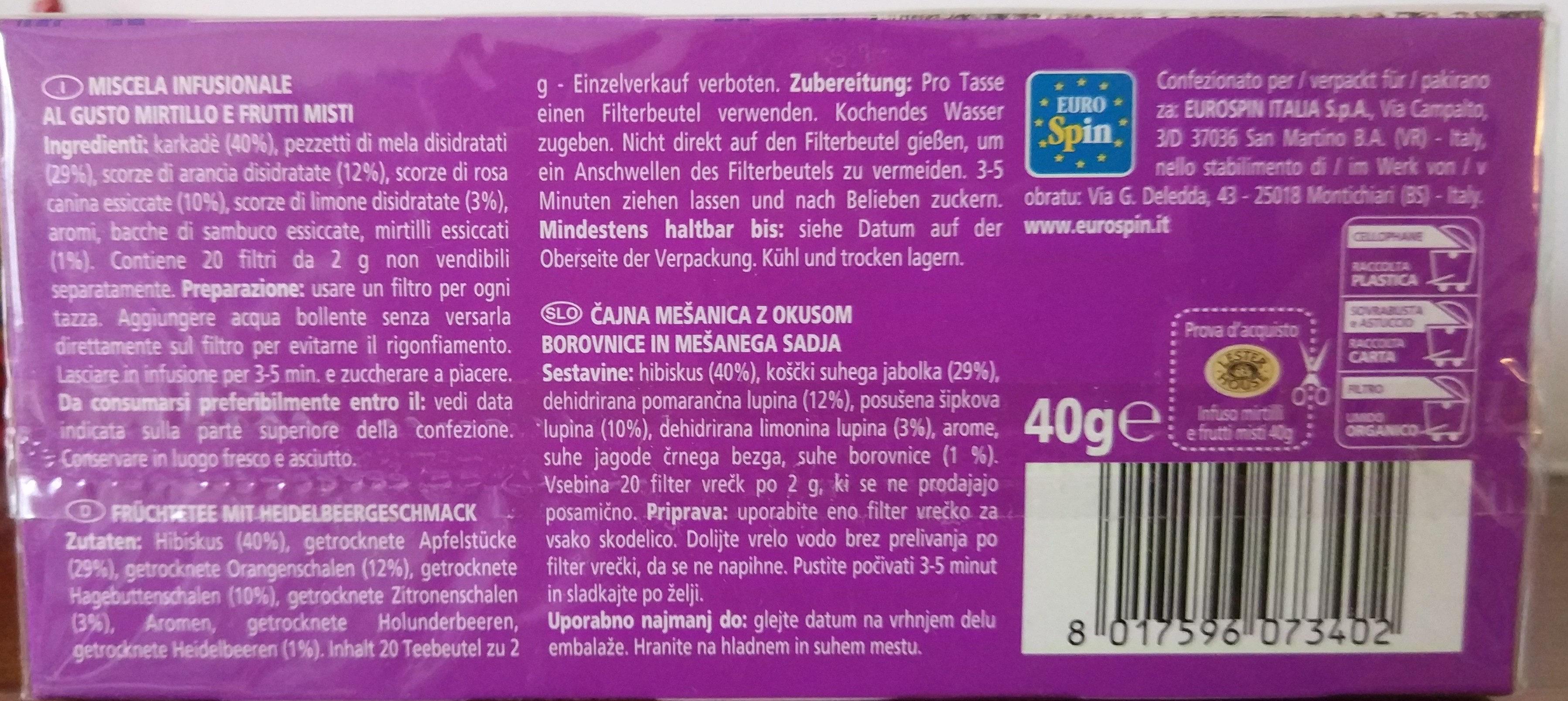 Infuso mirtilli e frutti misti - Ingredienti