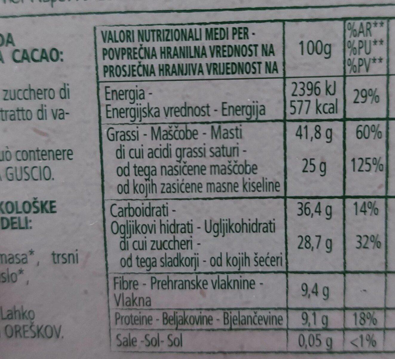 Chocolat noir 70% - Informations nutritionnelles - fr