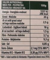 Burger di verdure - Informazioni nutrizionali - it