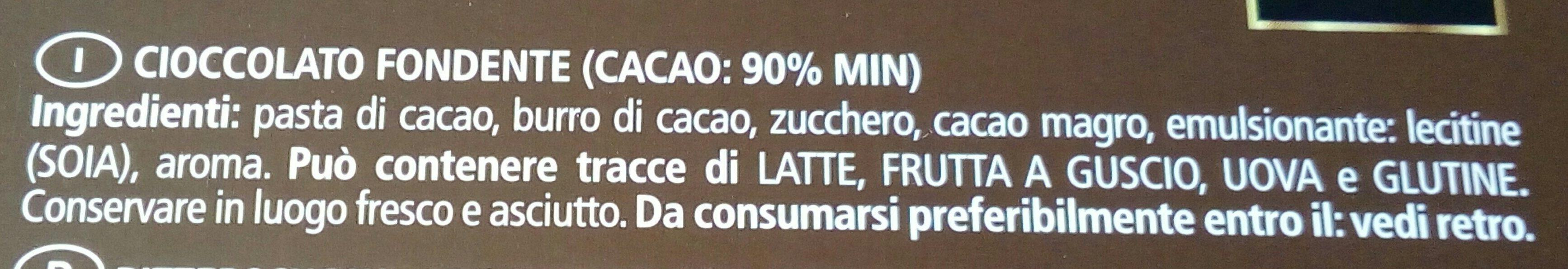 Cioccolato extra fondente 90% - Ingrediënten