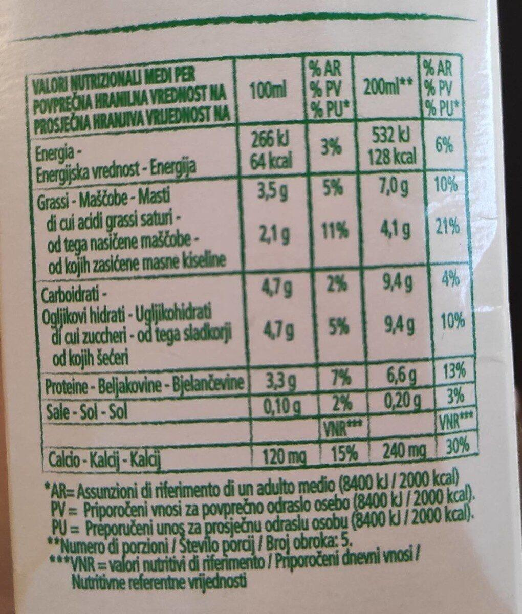 Latte intero biologico - Informations nutritionnelles - it