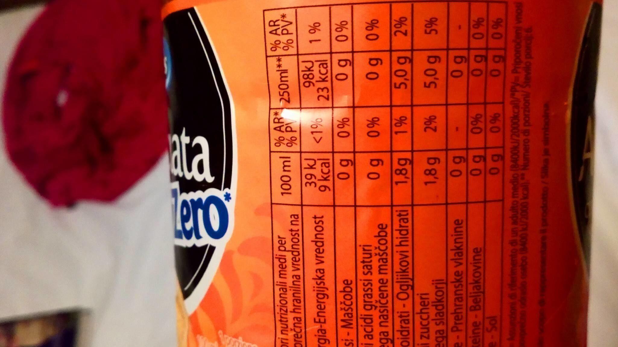 Aranciata zéro - Valori nutrizionali - fr