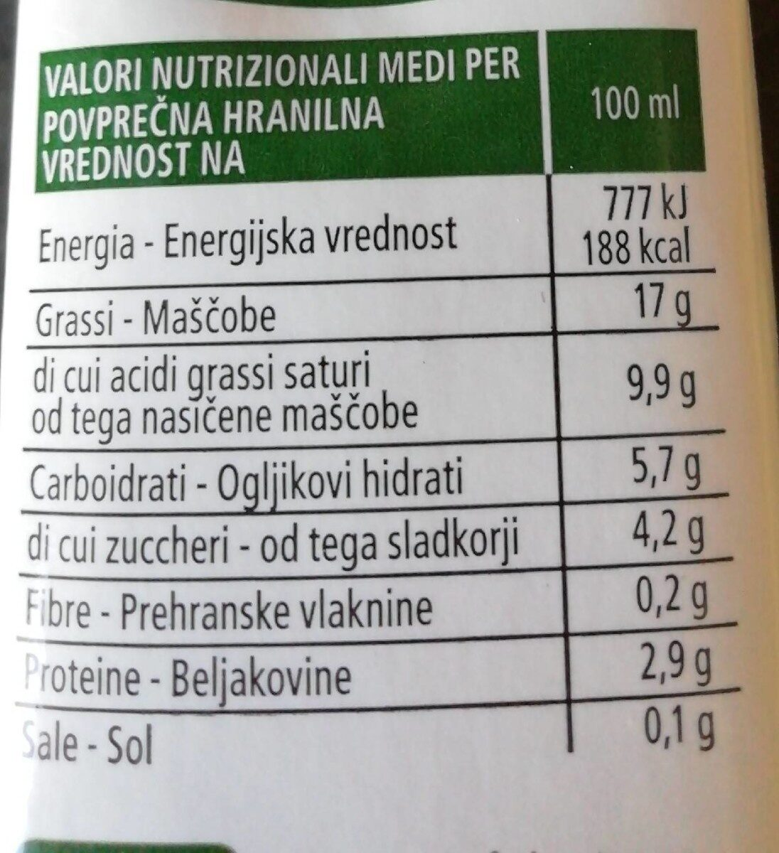 Panna vegetale soia - Nutrition facts - it