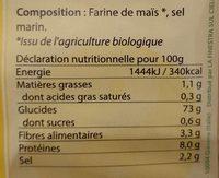 Soufflettes au maïs - Informations nutritionnelles