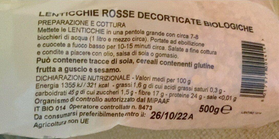 Lenticchie rosse decorticate bio - Informació nutricional - es