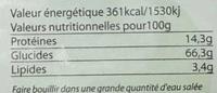 Fusilli de sarrasin complet - Nutrition facts