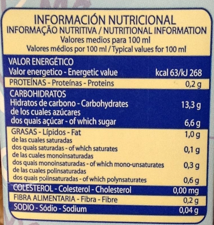 """Bebida de arroz ecológica """"La Finestra sul Cielo"""" - Información nutricional - es"""