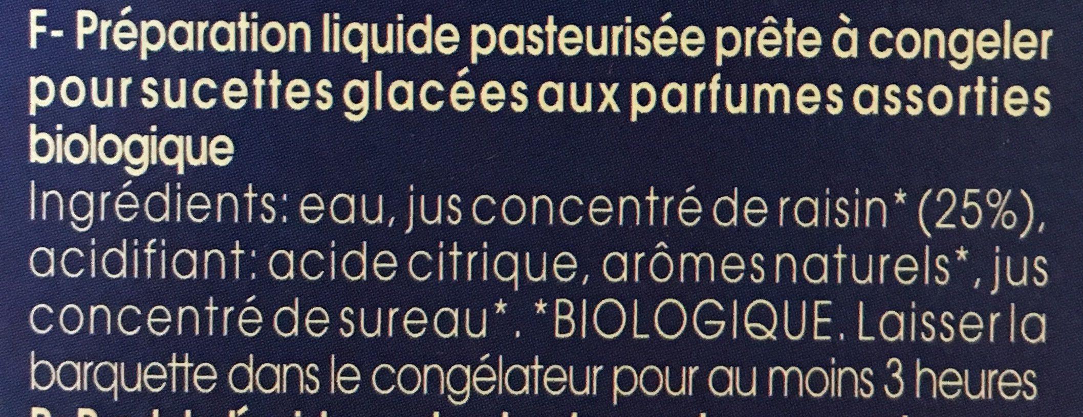 Sucette Glacée à Congeler X10 - Ingrédients - fr