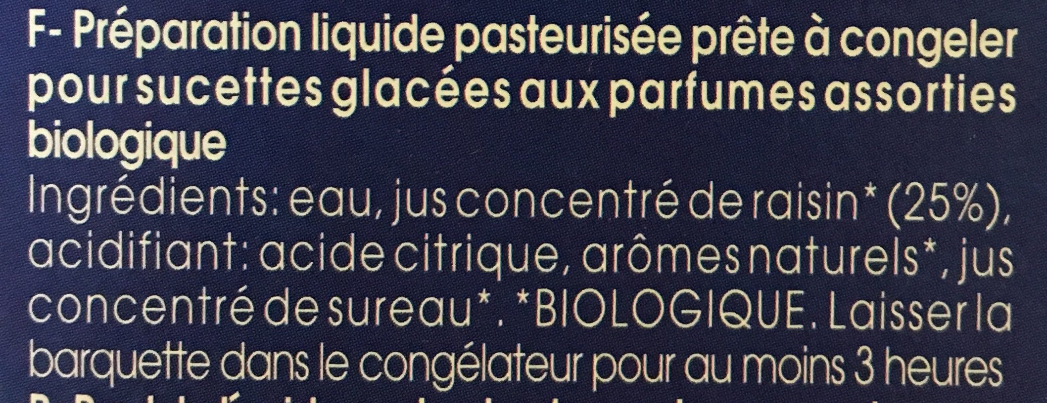 Sucette Glacée à Congeler X10 - Ingrediënten