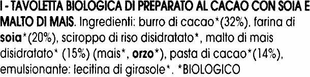 """Tavoletta biologica di cioccolato con soja """"La Finestra sul Cielo"""" - Ingredients - it"""