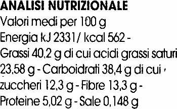 """Tavoletta biologica di cioccolato con soja """"La Finestra sul Cielo"""" - Información nutricional"""