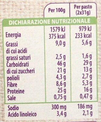 Barretta cereali e cioccolato - Valori nutrizionali - it