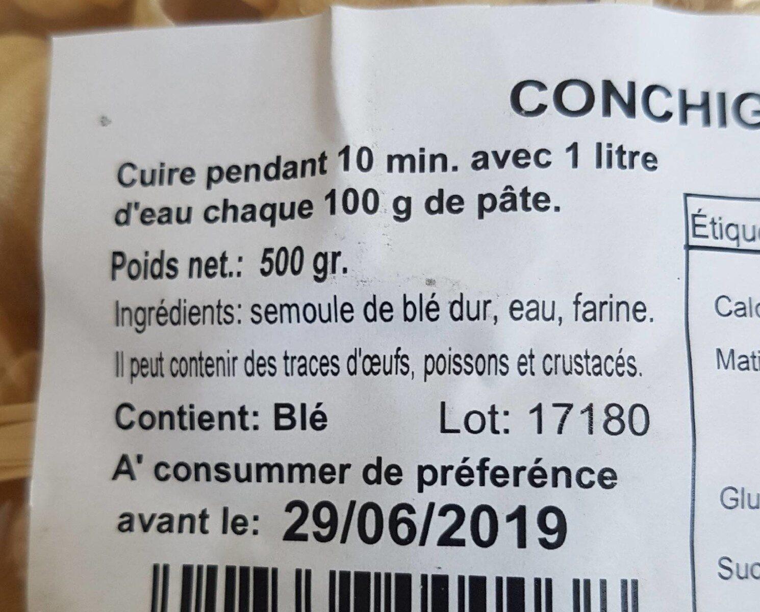 Conchiglioni - Ingrediënten - fr
