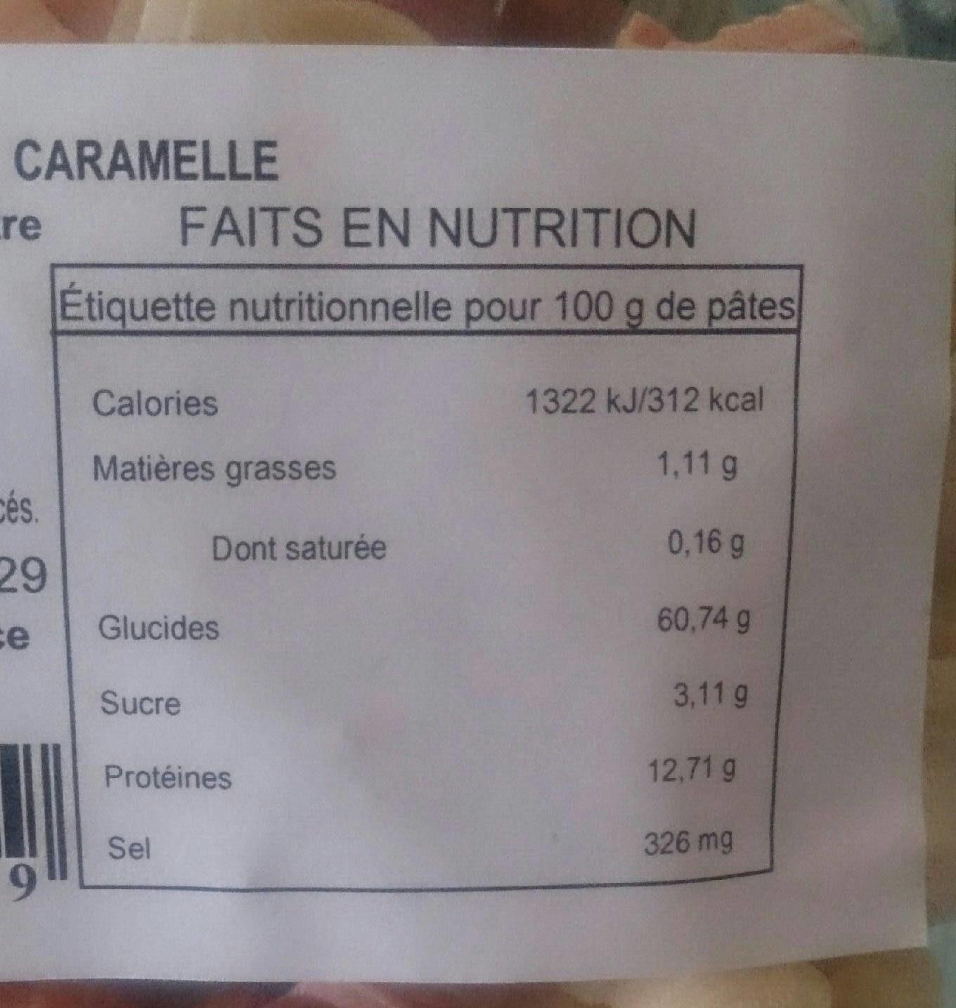 Pietro Castelli Pates 5 Couleurs Caramelle 250 G - Voedingswaarden - fr