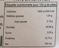 Farfalle Zebra - Voedingswaarden - fr