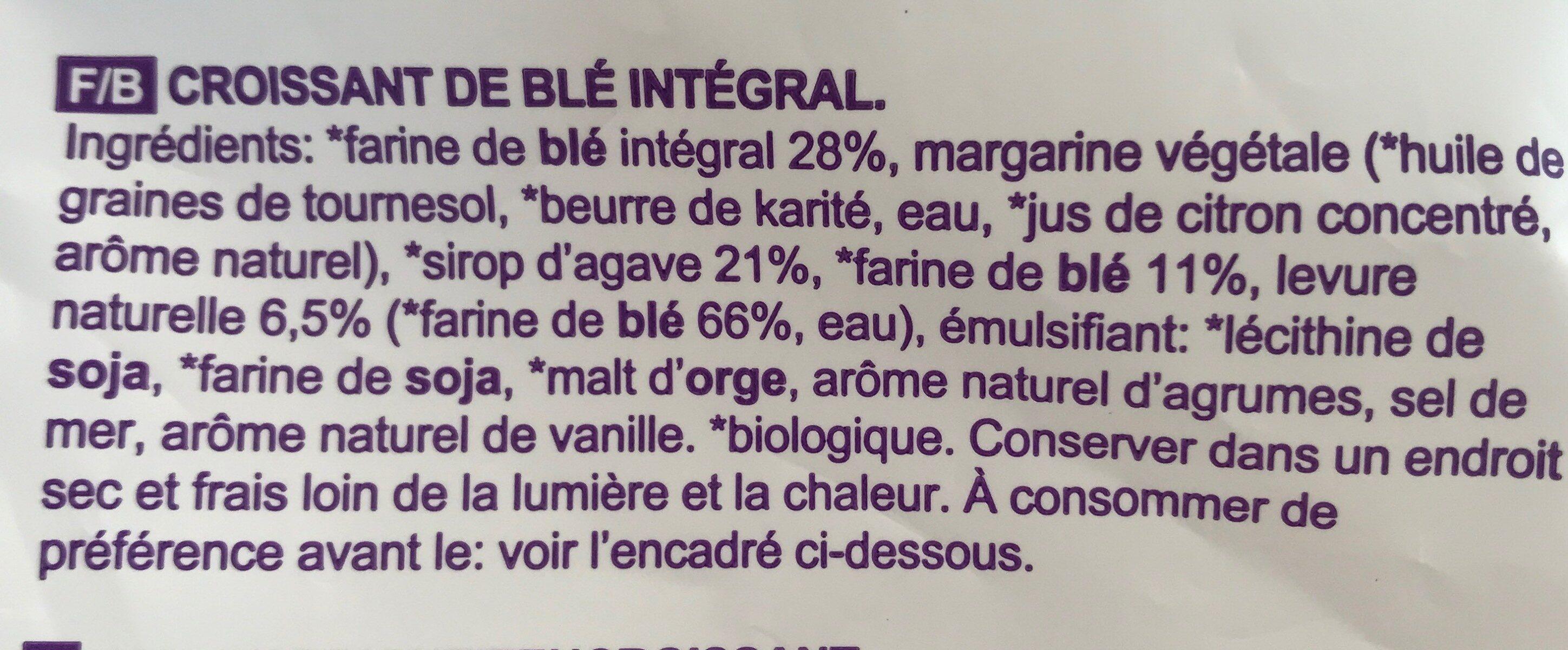 Vegan croissant integrali di frumento - Ingredienti - fr