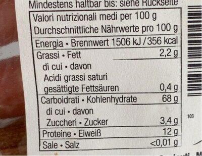 Penne Integrale - Aus Vollkorn-hartweizengrieß - Informations nutritionnelles - it