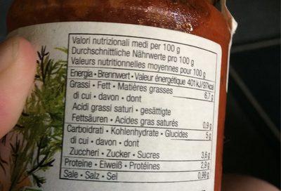 Epicerie / Condiments, Aides Culinaires / Sauces - Informations nutritionnelles