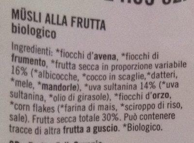 Musli alla frutta - Ingredients - it