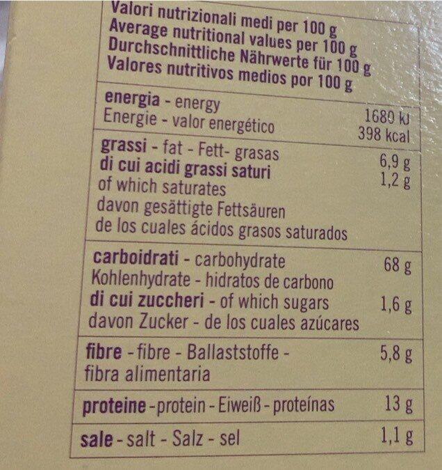 Fette biscottate farri semintegrale e fiocchi d'avena - Valori nutrizionali - it