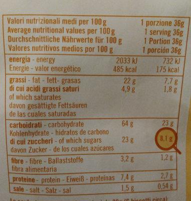 Gocce di Cioccolato - Informazioni nutrizionali