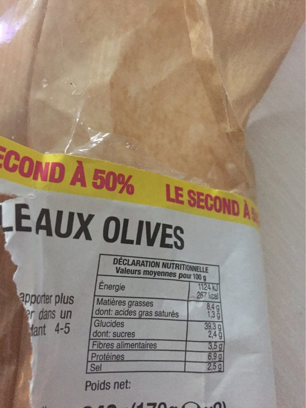 Foucaccia aux olives - Nutrition facts