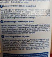 Boisson biologique à base de riz - Ingrédients