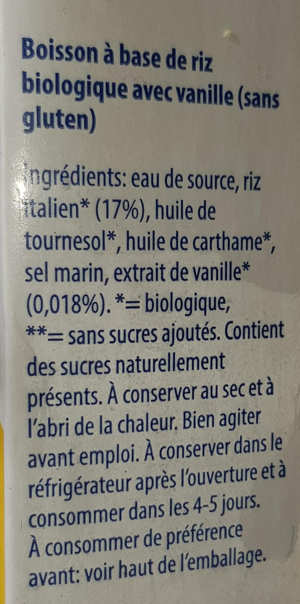 Bio Rice Drink Vanillia - Ingrédients - fr