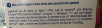 BIO RICE DRINK ALMOND - Ingredients - fr