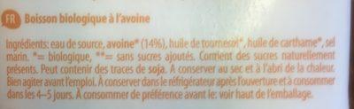 Boisson Végétale Avoine Bio & Sans Gluten - Ingredients - fr