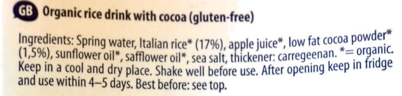 Bio Rice drink cacao - Ingredients - en