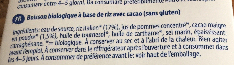 Bio Rice drink cacao - Ingrédients - fr