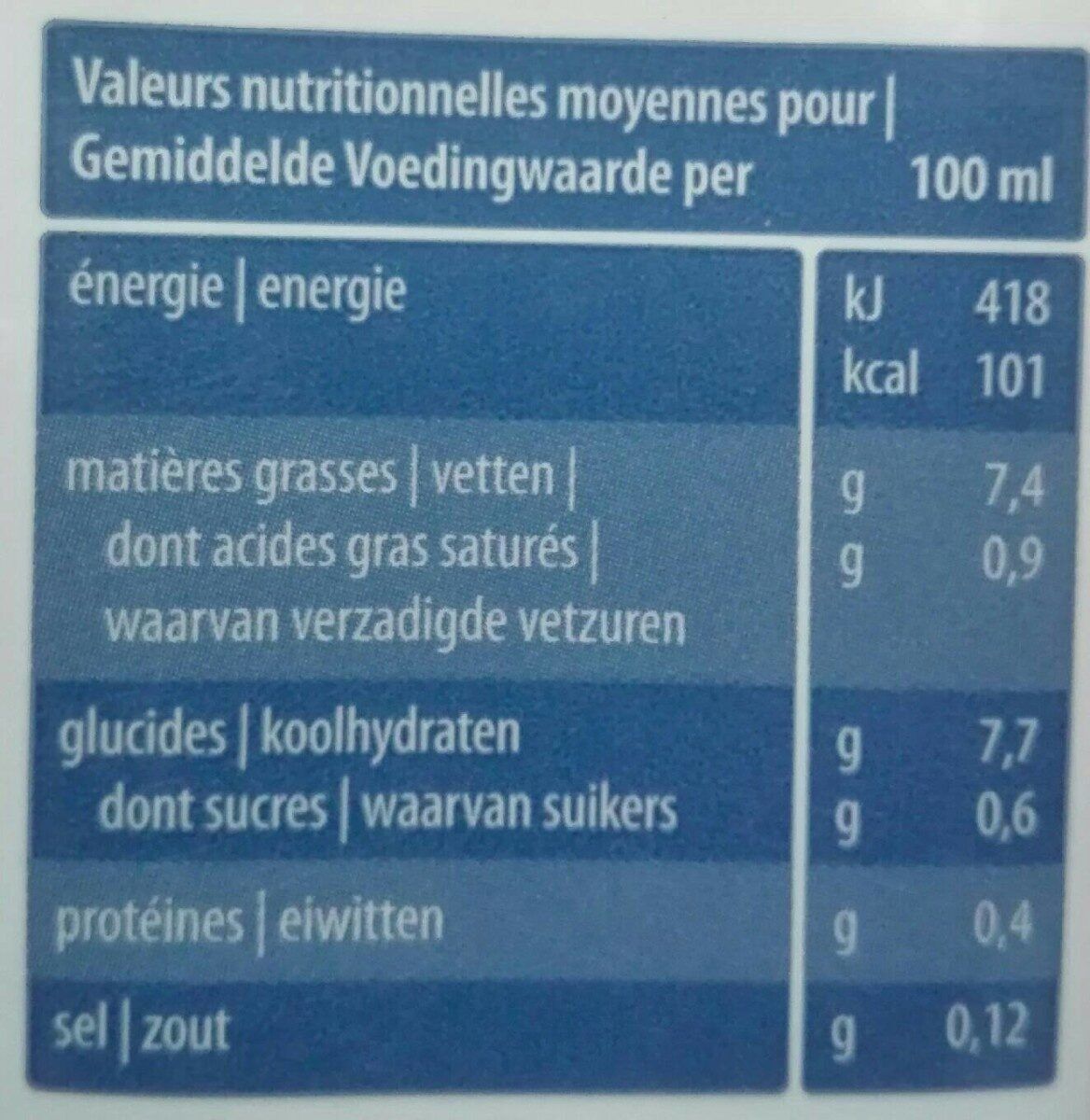 Bio oat cuisine for cooking - Nutrition facts - fr