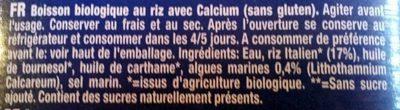 Bio drink rice+ calcium - Ingrédients