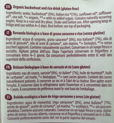 Bio Grano Saraceno e Riso Drink - Ingredienti - en