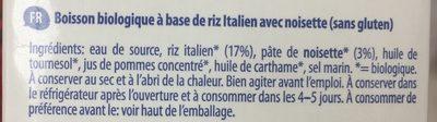 Biorice drink hazelnut - Ingredients