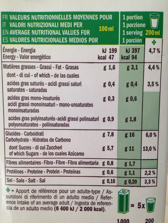 Boisson Avoine 14% - Nutrition facts - fr