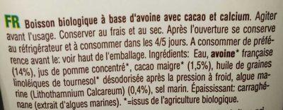 Boisson Avoine 14 % cacao - Ingrédients - fr